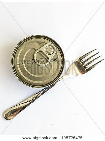 Canned fish with white background, pictures of tuna Canned,