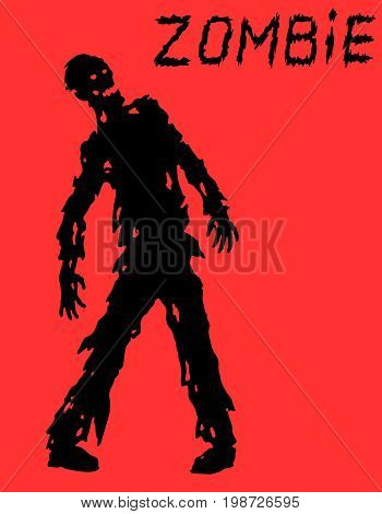 Silhouette of a standing zombie concept in black and red colors. Vector illustration. Scary character. The horror genre.