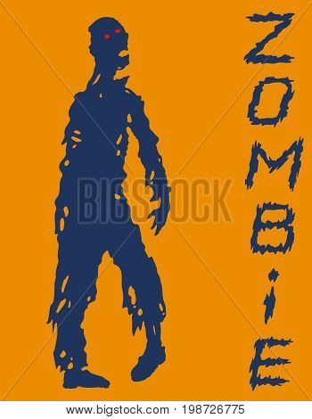 One-armed zombies silhouette in blue and orange colors. Vector illustration. Scary character design. The horror genre.