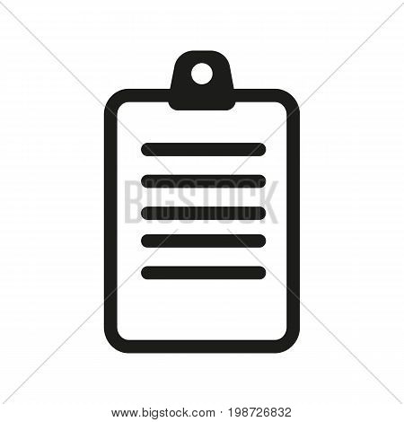 Simple icon of folder with paper. Document, file, text. Knowledge concept. Can be used for web pictograms, application and button icons