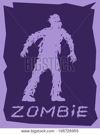 Silhouette of a walking zombie concept. Vector illustration. Drawing horror character design.