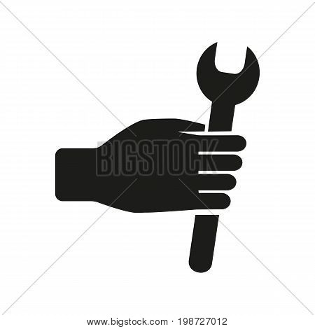 Simple icon of hand holding wrench. Mechanic, repairman, serviceman. Mending concept. Can be used for topics like service, maintenance, construction