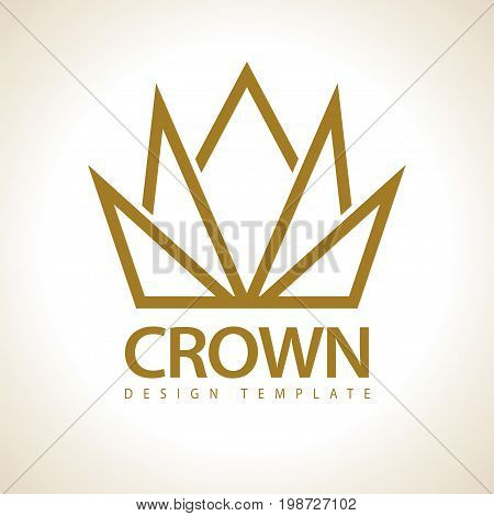 Gold Crown Royal icon.  King Queen Golden template. Creative Business symbol concept. Linear Crown abstract design vector