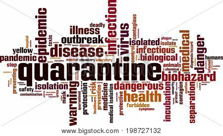 Quarantine word cloud concept. Vector illustration on white