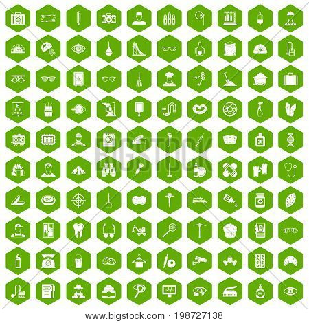 100 profession icons set in green hexagon isolated vector illustration
