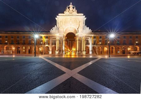 Ttriumphal arch - Rua Augusta Arch on the Commerce Square at night, Lisbon, Portugal