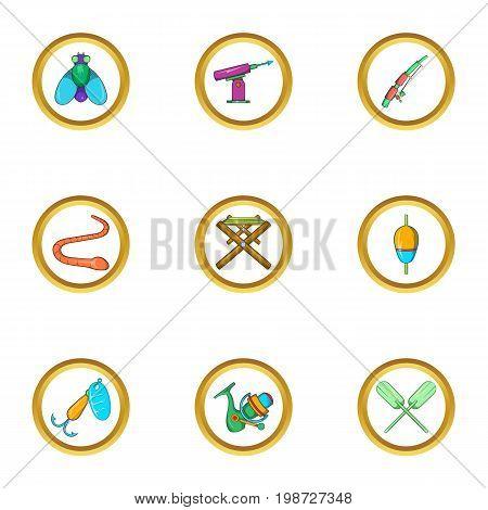 Fishing hobby icon set. Cartoon set of 9 fishing hobby vector icons for web isolated on white background