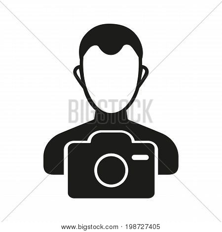 Simple icon of photographer with camera. Hobby, occupation, professional. Photography concept. Can be used for topics like art, leisure, entertainment
