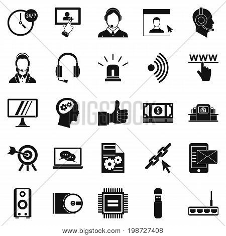 Headphone icons set. Simple set of 25 headphone vector icons for web isolated on white background