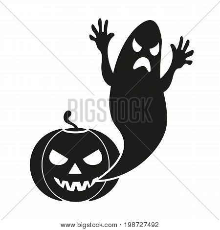 Simple icon of pumpkin and ghost. Halloween symbol, horror movie, fear. Halloween concept. Can be used for topics like holiday, celebration, holiday symbols