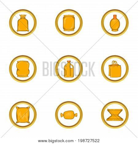 Packing type icon set. Cartoon set of 9 packing type vector icons for web isolated on white background