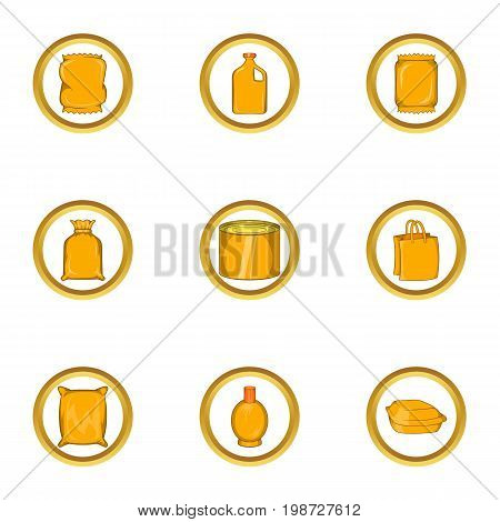 Supermarket pack icon set. Cartoon set of 9 supermarket pack vector icons for web isolated on white background