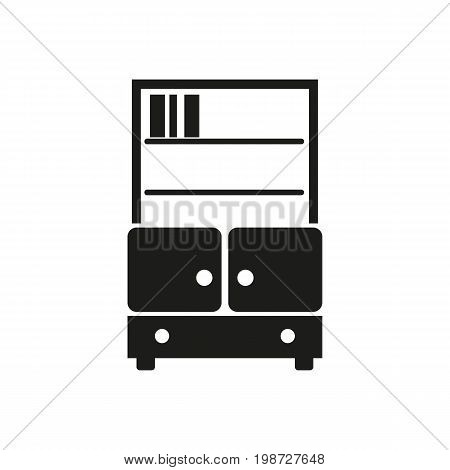 Simple icon of shelves with books. Bookshelves, library, bookcase. Furnishing concept. Can be used for topics like furniture, leisure, home