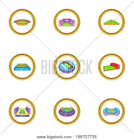 Sport stadium icon set. Cartoon set of 9 sport stadium vector icons for web isolated on white background