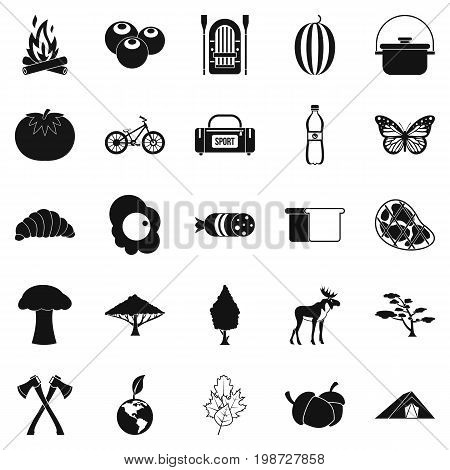 Hiking in the wilderness icons set. Simple set of 25 hiking in the wilderness vector icons for web isolated on white background
