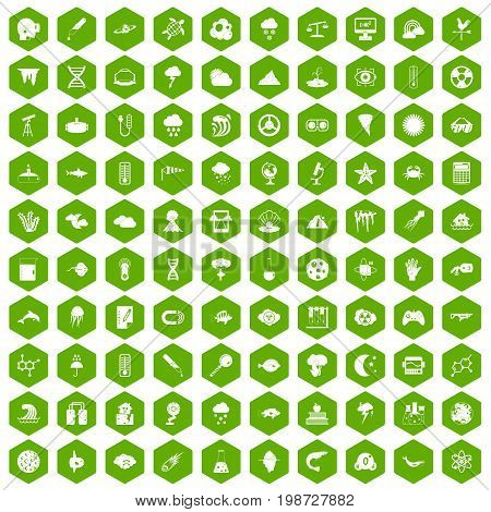 100 research icons set in green hexagon isolated vector illustration