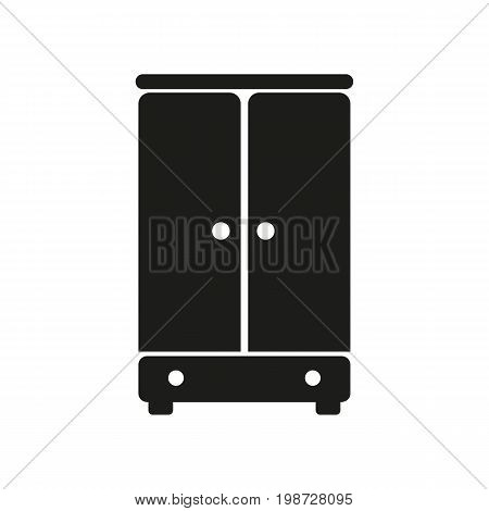 Simple icon of wardrobe. Closet, cabinet, cupboard. Furnishing concept. Can be used for topics like furniture, home, domestic appliance