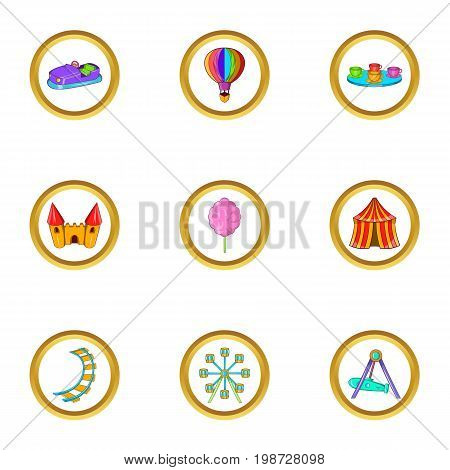 Amusement festival icon set. Cartoon set of 9 amusement festival vector icons for web isolated on white background