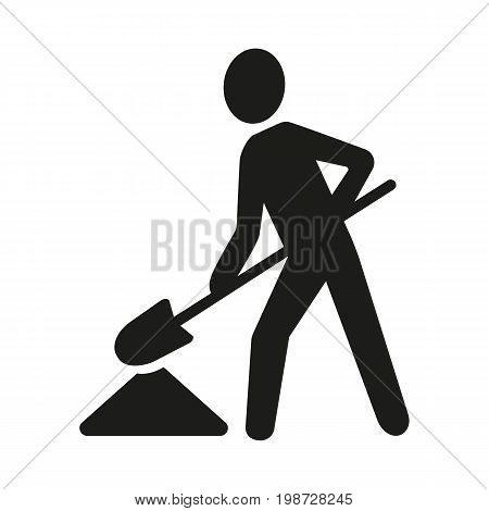 Simple icon of workman digging pit. Roadwork symbol, gardening, reconstruction. Mending concept. Can be used for cautions signs, information boards and web pictograms