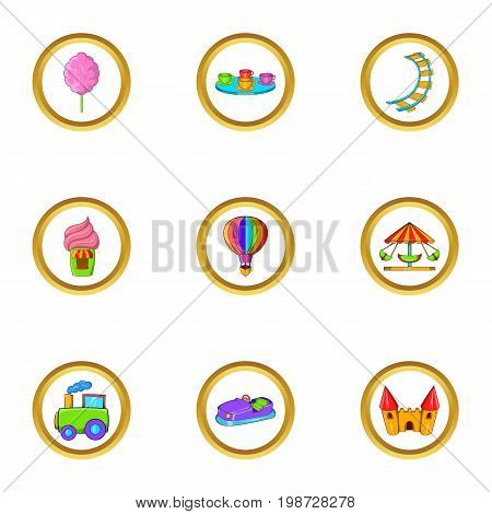 Amusement rest icon set. Cartoon set of 9 amusement rest vector icons for web isolated on white background