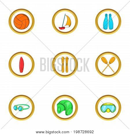 Water hobby icon set. Cartoon set of 9 water hobby vector icons for web isolated on white background