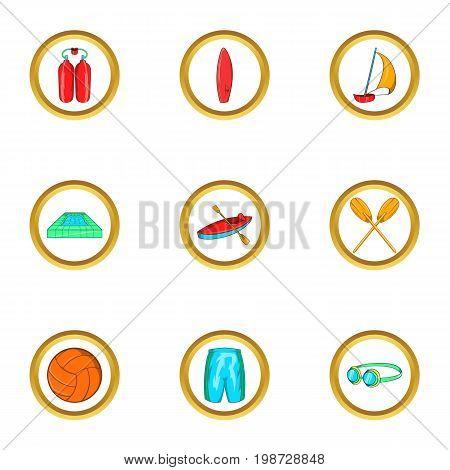Water sport holiday icon set. Cartoon set of 9 water sport holiday vector icons for web isolated on white background