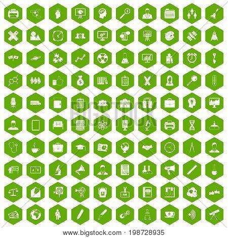 100 seminar icons set in green hexagon isolated vector illustration