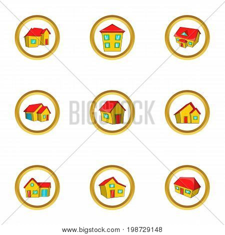 City house icon set. Cartoon set of 9 city house vector icons for web isolated on white background