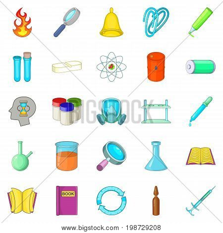 Chemical experiment icons set. Cartoon set of 25 chemical experiment vector icons for web isolated on white background