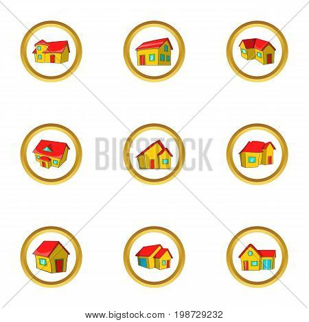 House collection icon set. Cartoon set of 9 house collection vector icons for web isolated on white background