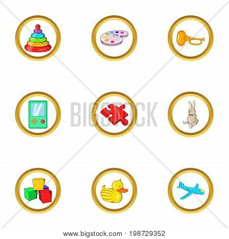 Childhood toy icon set. Cartoon set of 9 childhood toy vector icons for web isolated on white background