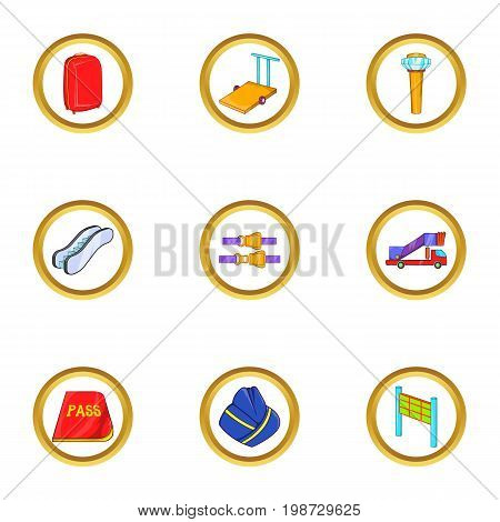 Local airport icon set. Cartoon set of 9 local airport vector icons for web isolated on white background
