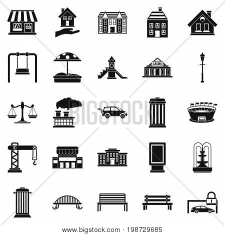 Benches icons set. Simple set of 25 benches vector icons for web isolated on white background