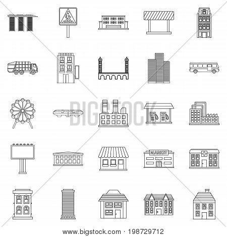 Skyscrapers icons set. Outline set of 25 skyscrapers vector icons for web isolated on white background