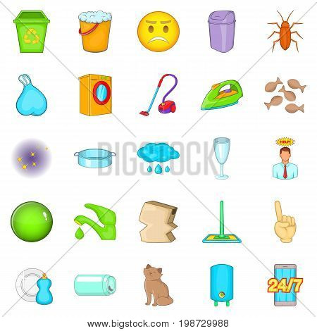 Cleaning icons set. Cartoon set of 25 cleaning vector icons for web isolated on white background