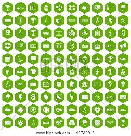100 stadium icons set in green hexagon isolated vector illustration