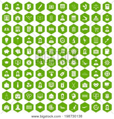 100 statistic data icons set in green hexagon isolated vector illustration