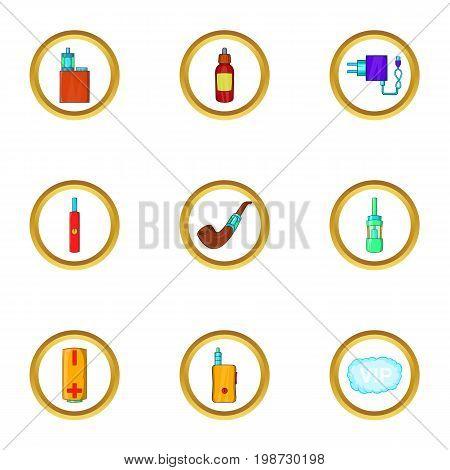 Electronic smoking icon set. Cartoon set of 9 electronic smoking vector icons for web isolated on white background