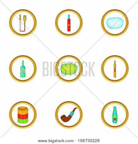 Electronic vape icon set. Cartoon set of 9 electronic vape vector icons for web isolated on white background