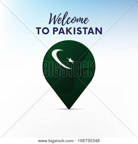 Flag of Pakistan in shape of map pointer or marker. Welcome to Pakistan. Vector illustration.