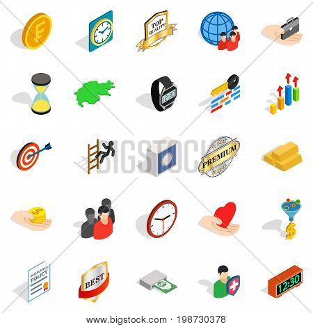 Coinage icons set. Isometric set of 25 coinage vector icons for web isolated on white background