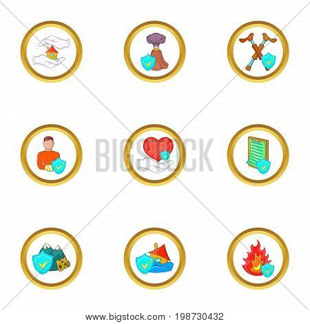 Insurance icon set. Cartoon set of 9 insurance vector icons for web isolated on white background
