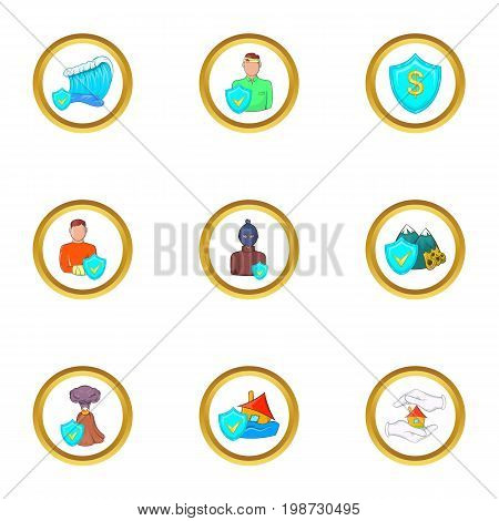 Human insurance icon set. Cartoon set of 9 human insurance vector icons for web isolated on white background