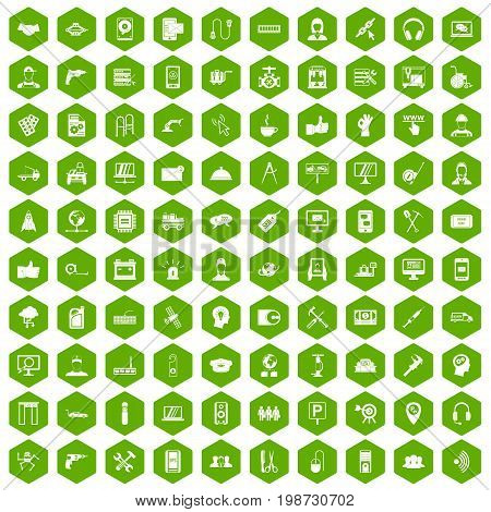 100 support center icons set in green hexagon isolated vector illustration