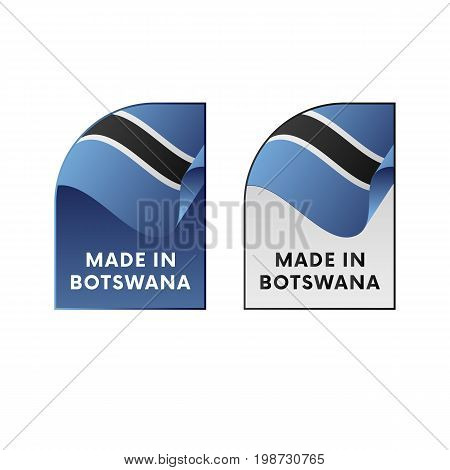 Stickers Made in Botswana. Waving flag. Vector illustration.