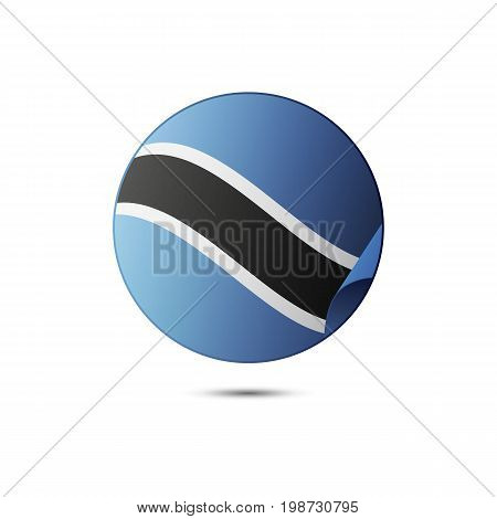 Botswana flag button with shadow on a white background. Vector illustration.