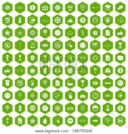 100 symbol icons set in green hexagon isolated vector illustration