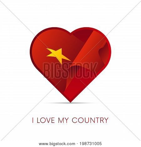 Vietnam flag in heart. I love my country. sign. Vector illustration.