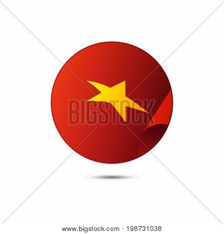 Vietnam flag button with shadow on a white background. Vector illustration.