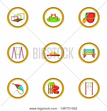 Summer playground icon set. Cartoon set of 9 summer playground vector icons for web isolated on white background